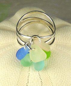 Eco Friendly GENUINE Sea Glass Ring Pastel Sea by seaglassgems4you