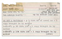 """A notecard for """"Go Set a Watchman,"""" from the records of literary agent Annie Laurie Williams. (Annie Laurie Williams records, Rare Book & Manuscript Library, Columbia University in the City of New York) I Love Books, Good Books, Books To Read, This Book, Scarred Hearts, Bloomberg Business, Harper Lee"""