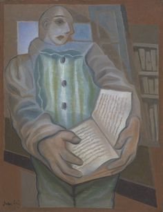 Juan Gris, Pierrot with Book, 1924  From the Tate Gallery:  Although this painting is resolutely figurative, it is strongly influenced by Cubism. Pierrot's upper body is neatly framed within the architectural framework of the window behind him and the depiction of his face combines a frontal and sideways perspective. The greatly exaggerated hands contrast with the impression of daintiness given by Pierrot's cupid-bow mouth and the soft pastel hues employed by Gris.