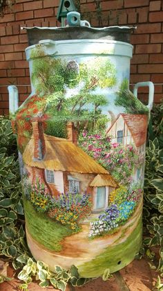 Neighbouring cottages on milk can, Acrylic Handpainted by Samantha van der Westhuizen Painted Milk Cans, Painted Jars, Painted Rocks, Hand Painted, Bottle Painting, Bottle Art, Milk Can Decor, Vintage Milk Can, Old Milk Cans