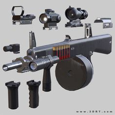 Blender 3d, Firearms, Shotguns, Shooting Bench, Red Dot Sight, Uv Mapping, Low Poly 3d Models, Special Ops, Military Guns