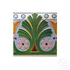 Shop Art Deco Reproduction Ceramic Tile created by decorativetile. Art Nouveau, Art Deco Tiles, La Art, Art Deco Era, Office Gifts, Geometric Shapes, Vintage Art, White Ceramics, Pottery