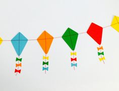 This colourful kite garland is sure to brighten up any room or event. Available in pastels or bright, each garland has 30 kites with paper ribbon School Decorations, Festival Decorations, Crafts For Kids, Arts And Crafts, Paper Crafts, Makar Sankranti Greetings, Kite Decoration, Kite Board, Curious George Party