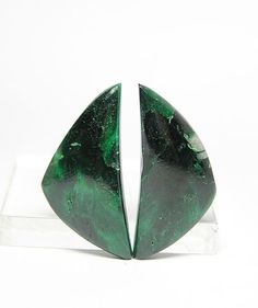 Chatoyant Green Malachite  Matched Cabochon by FenderMinerals