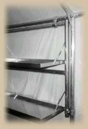 Shelf system for wall  tent Kwik Kamp.