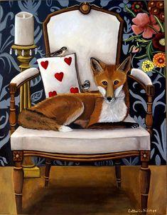 Catherine Nolin Art Studio: Fox and Sparrows - New painting Watercolor Paintings, Original Paintings, Painting Art, Chair Painting, Fox Art, Painting Patterns, Fine Art Paper, Illustration Art, Fine Art Prints