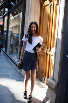 #LiuWen skirting it #offduty in Paris.