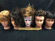 ASSORTMENT OF COSMETOLOGY MANICURE SALON PRACTICE HAIRDRESSING TRAINING HEADS, ALL GABRIELA
