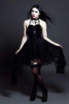 Model: Lady Kat Eyes Photographer: Digitalbeautystudio Dress & Neclace: The… Dark Fashion, Gothic Fashion, Fashion Beauty, Goth Beauty, Dark Beauty, Gothic Dress, Gothic Outfits, Dark Black, Goth Look