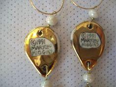 Mary Lou Higgins EARRINGS w GOLD LUSTREWARE Glaze 1991 (10/21/2013)