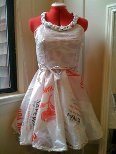 Dress made entirely out of plastic bags.