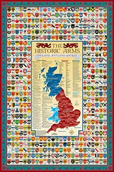 England, Scotland & Wales Family Crest Coat of Arms Map Poster - ScotsUSA Buchanan Castle, Family Crest Symbols, Scotland History, Pictorial Maps, Scottish Clans, Wall Maps, England And Scotland, Crests, British History