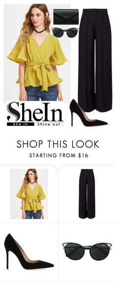A fashion look from June 2017 featuring flutter-sleeve tops, party pants and high heel stilettos. Browse and shop related looks. Miss Selfridge, Balenciaga, Eyewear, Vogue, Fashion Statements, Shoe Bag, Polyvore, Stuff To Buy, Women's Fashion