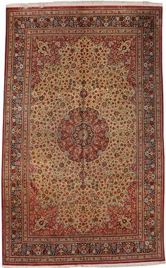 Qum silk  carpet Central Persia size approximately 6ft. 7in. x 10ft. 7in.