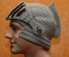 Keeping me warm and weird at the same time! Crocheted Knight Helmet by Dee Forrest (Hattie Hooker Etsy Shop)