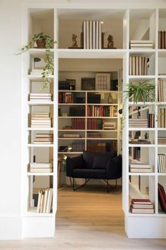 work corner-at-home-with-bookshelf-room-divider-design-partition-shelf-wooden-floor-books-plants For Those Who Love To Live Today: What Is Modern Decoration , How Bookshelf Room Divider, Bookshelf Design, Room Dividers, Bookshelf Wall, Small Bookshelf, Open Shelves, Ideas For Bookshelves, Bedroom With Bookshelves, Room Divider Ideas Bedroom