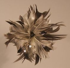 "Real Feather Flower ""Silver Galaxy"" by VeriFeather"
