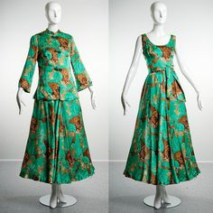 SALE Vintage 60s Green Silk Asian Influenced by StyleandSalvage