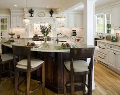 Traditional Kitchen Modern Rustic Kitchen Design, Pictures, Remodel, Decor and Ideas - page 52 Wood Kitchen Island, Kitchen Island With Seating, Rustic Kitchen, New Kitchen, Kitchen Ideas, Kitchen Designs, Kitchen Backsplash, Kitchen Decor, Kitchen Layouts