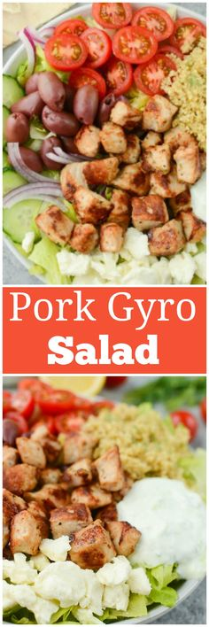 Pork Gyro Salad - easy, healthy, and delicious dinner idea! Lots of veggies with garlic and herb marinated pork all topped with a quick homemade tzatziki sauce.