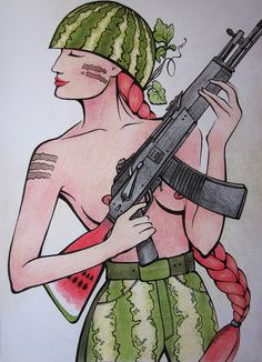 watermelon girl pencils military
