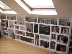 Nice built-in shelving under the roof pitch