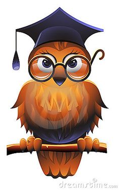 Vector illustration of owl wearing a square academic cap and glasses