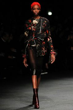 SOOOO AMAZING this will keep me up at night!!!! pfw givenchy fall 13     deconstructed floral moto jacket blouse sheer pencil skirt leather trim baaahhh dead