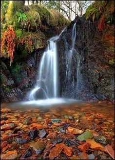 autumn, waterfall at Birnam Hill, Highlands of Scotland