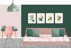 Pink and green tween - toddler to teen - girl's bedroom styleboard. Paint Dulux Pink Nevada 6, Highland Green and Fresh Sage.