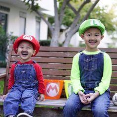 Best brother costume ever! #overallsforthwin #powerup #happyhalloween #oshkoshkids #besthalloweencostumes