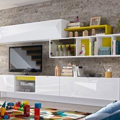 Meuble TV mural à éléments bas et hauts