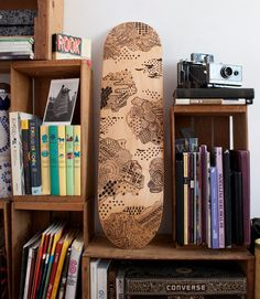 Interplanetary  OneofaKind Hand Burned Skateboard Deck by LouMedel, $1300.00