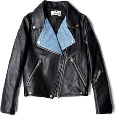 Acne Rita Leather Jacket With Denim Panels ($1,150) ❤ liked on Polyvore