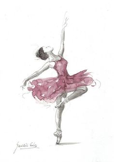 Original Watercolor Art Painting of BALLERINA by by EwArtStudio