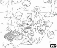 Caillou en zijn familie met een picknick op het platteland kleurplaat