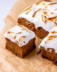 Vegan Sweet Potato Cake with Marshmallow Fluff! - School Night Vegan Potato Cakes, Marshmallow, Sweet Potato, Vegan Recipes, Potatoes, Healthier Desserts, Healthy, Food, Potato Croquettes