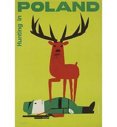 Vintage Hunting in Poland Magazine, deer illustration Retro Poster, Poster Vintage, Vintage Travel Posters, Poster Boys, Vintage Advertisements, Vintage Ads, Vintage Graphic, Vintage Style, Graphic Design Illustration