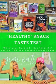 "Drunk blogging, what a GREAT idea; so here we go! I went to the Natural Product Expo, got lots of ""healthy"" snacks, and forced my husband to try them! #snackfoodtastetest #healthysnacks #naturalproductexpo #expowest #husbandandwife"