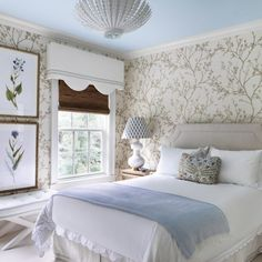 In the guest bedroom, an Aerin chandelier from Circa Lighting hangs above a custom bed upholstered in Schumacher linen and dressed in Matouk linens embroidered by The Initial Choice. Bedroom Colors, Home Decor Bedroom, Bedroom Wall, Bedroom Ideas, Bedroom Beach, Bedroom Girls, Diy Bedroom, Master Bedrooms, Bedroom Apartment