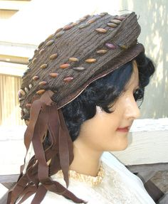 Edwardian Hat 1920s 20s Straw Tam Vintage with Wooden Beads and Streamers 21 1/2 The Dayton Company Minneapolis. $75.00, via Etsy.