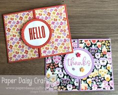Paper Daisy Crafting: Pansy Petals Circle Opening Card - Video Tutorial Fancy Fold Cards, Folded Cards, Paper Daisy, Color Contour, Thank You Gifts, Pansies, Stuff To Do, I Card, Stampin Up