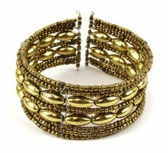(Gold / Gold) Acrylic Bead Adorned Metal Accented Stretch Cuff Bracelet ASX Jewelry Collection. $1.99