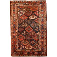 Handmade Antique Persian Kurdish Rug, 1880s For Sale