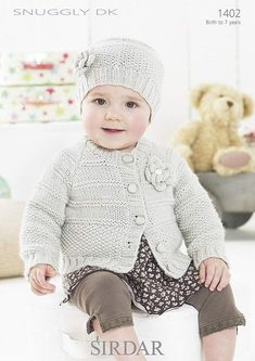 Cardigan & Hat in Sirdar Snuggly DK - Discover more Patterns by Sirdar Snuggly at LoveCrafts. From knitting & crochet yarn and patterns to embroidery & cross stitch supplies! Shop all the craft materials you need to start your next project. Baby Cardigan, Baby Pullover, Cardigan Pattern, Crochet Ripple, Knit Crochet, Crochet Stitches, Knitting For Kids, Free Knitting, Double Knitting