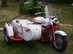 Vintage Moto Guzzi with sidecar