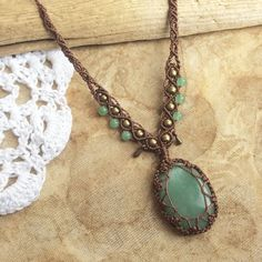 Aventurine Macrame Necklace Macrame Jewellery by MerakiEtsy