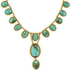 Victorian Natural Turquoise Drop Collar Necklace