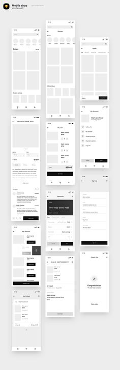 Mobile shop wireframe by Leschinger.cz on Creative Market Mobile shop wireframe by Leschinger.cz on Creative Market Wireframe Web, Wireframe Design, App Ui Design, Interface Design, Design Design, Dashboard Design, User Interface, Design Thinking, Motion Design