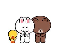 Line Stickers & Themes Cute Couple Cartoon, Cute Couple Art, Cute Love Cartoons, Funny Cartoon Gifs, Animated Cartoons, Animated Gif, Friends Gif, Line Friends, Brown Bear